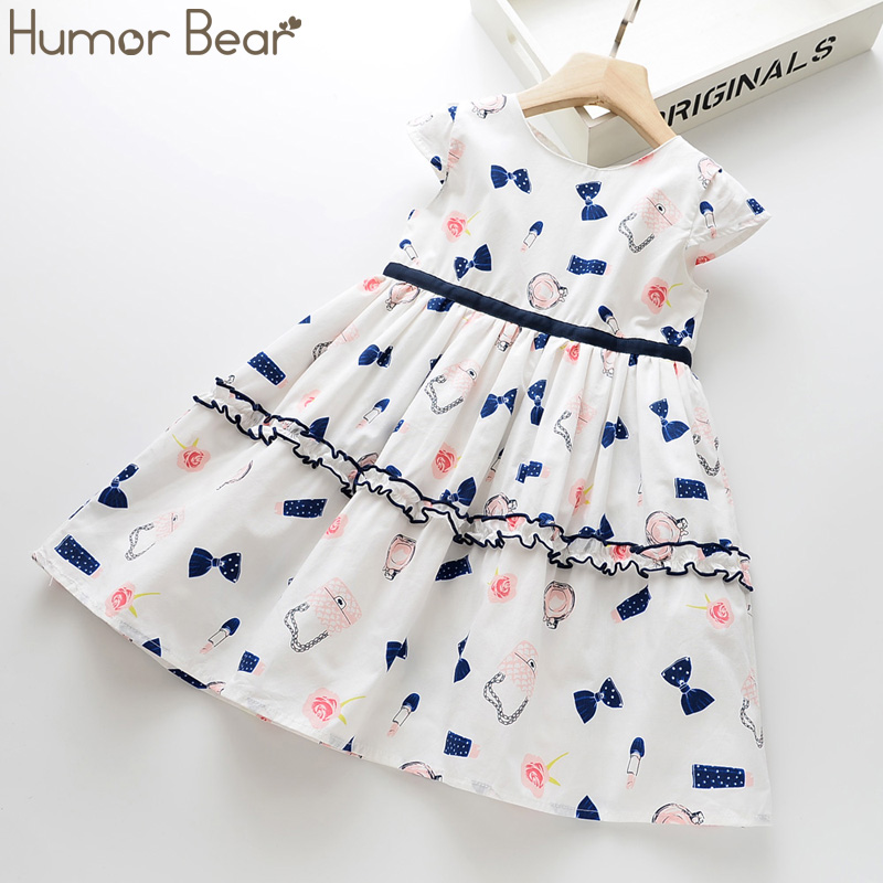 Humor Bear Summer New Girls Dress Bow Print Girls Round Neck Flying Sleeves Lace Dress Cute Casual Princess Dress Baby Clothing