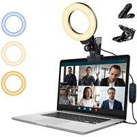 טבעת אור Led מנורת תאורה עם קליפ על מחשב נייד מחשב עבור ועידת וידאו מצלמות זום לשוחח לחיות הזרמת Youtube #3