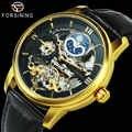 FORSINING luxe Tourbillon montres pour hommes Phase de lune squelette automatique mécanique montre en cuir véritable bracelet horloge doré