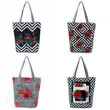 Grocery-Bags Floral Reusable Tela Eco-Friendly Printed Di Borsa Kitchen High-Quality