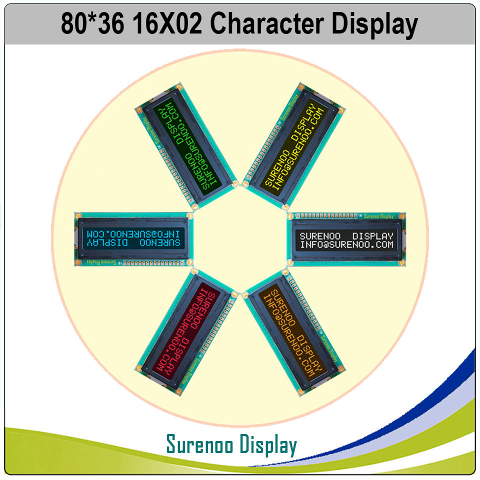 162 1602 16X2 Character LCD Module Display Screen LCM Red/Green/Blue/White/Orange/Yellow On FSTN Negative Black Background
