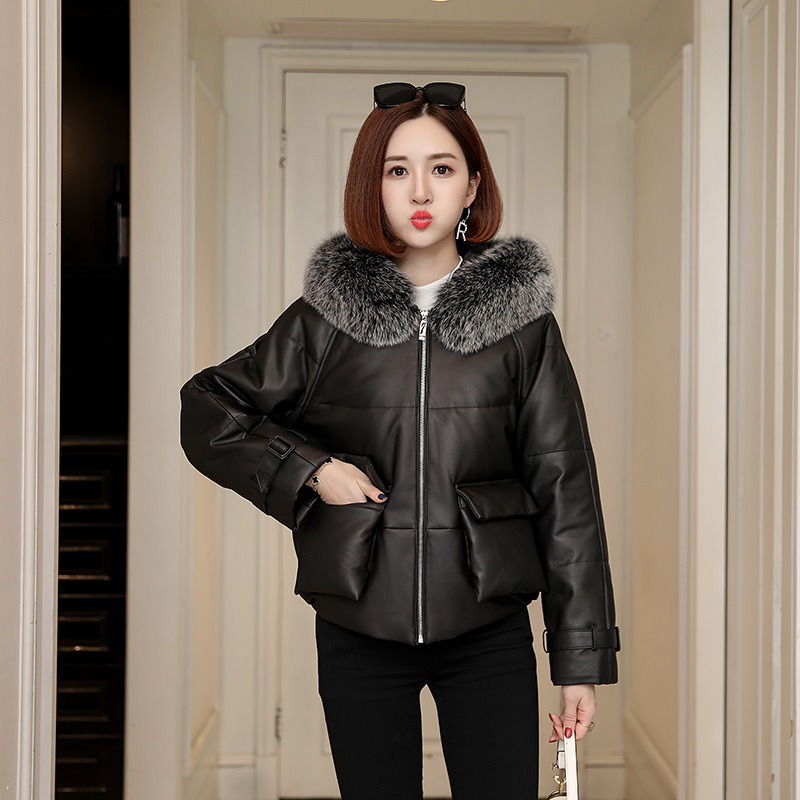 Natural Genuine Leather Duck Down Jacket Women Winter Real Fox Fur Hooded Leather Down Coat Female Thick Warm Down Parkas 19309
