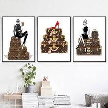 Moda chica en caja Vintage imagen póster e impresiones en la pared decoración para tu casa HD imagen zapatos de tacón alto rojo sin marco