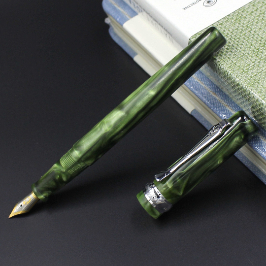 Old Stock PB Green Celluloid Fountain Pen Ink Pen Converter Filler Fine Nib Stationery Office School Supplies Writing Gift