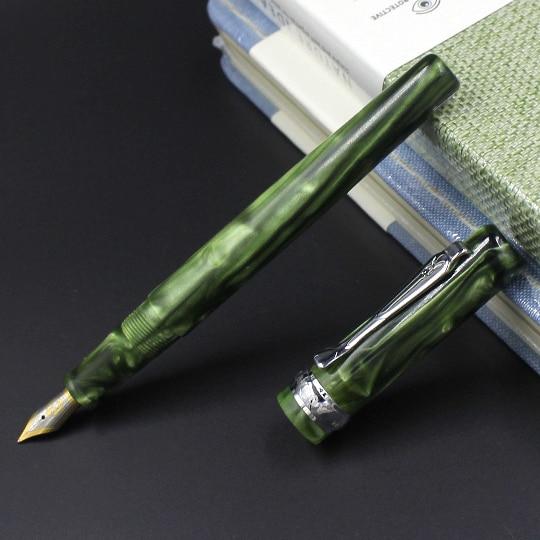 Old Stock PB Green Celluloid Fountain Pen Ink Pen Converter Pen Fine Nib Stationery Office School Supplies Penna Stilografica