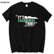 It's Hammer Time Lewis Hamilton F1 Tshirts Men shubuzhi Crew Neck Lewis Hamilton T Shirts Men's shubuzhi Tees Tops Clothing(China)