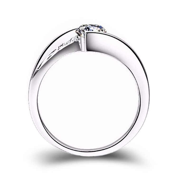 TOP AAA Cubic Zirconia แหวน 925 เงินสเตอร์ลิงแหวนหมั้นครบรอบผู้หญิง