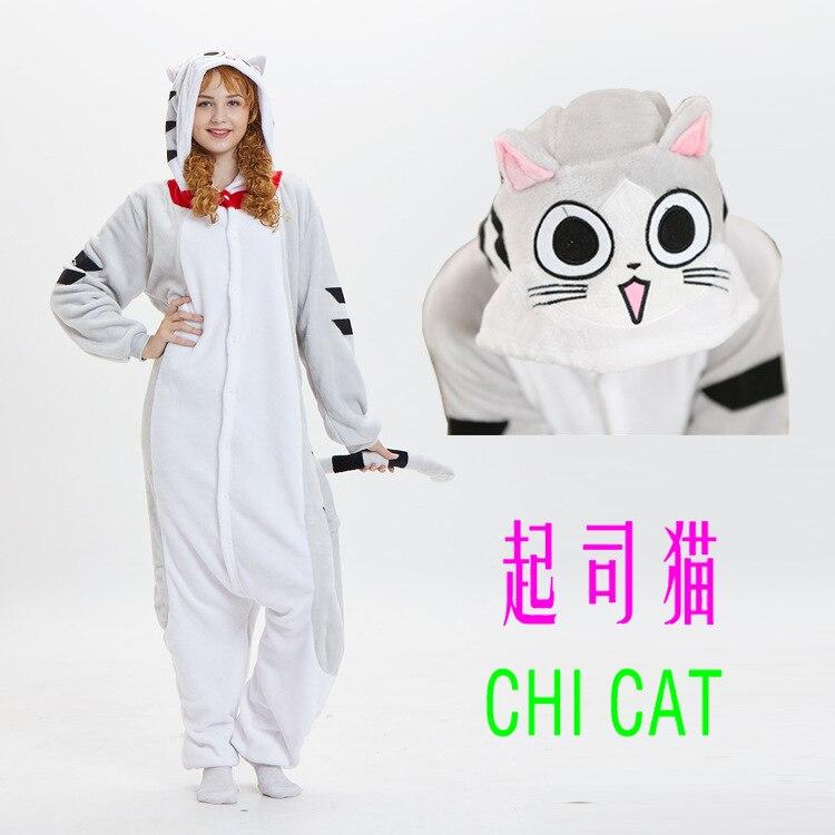теплая пижамаMink Flange Men's And Women's Household Conjoined Animal Cheese Cat Pajama Cartoon Winter Couple Kigurumi