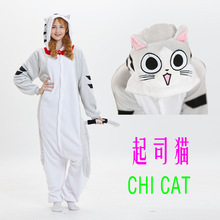 теплая пижамаMink flange mens and womens household conjoined animal cheese cat Pajama cartoon winter couple kigurumi