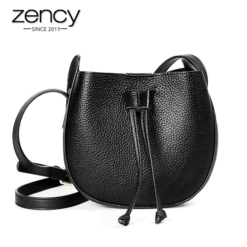 Zency 100% Genuine Leather Fashion Women Messenger Bag Simple Shoulder Bags High Quality Small Flap Daily Casual Crossbody Black