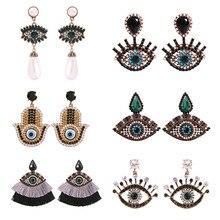 Creative Turkish Evil Eye Long Drop Earrings For Women Fashion Zircon Pearl Tassel Fatima Hand Dangle Earring Exaggerate Jewelry
