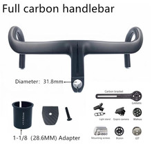 Manillar de carbono integrado para bicicleta de carretera, 2020mm/28,6mm, color negro mate, novedad de 31,8