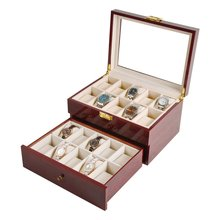 Luxury 20 Grids Solid Red Wooden Watch Box Jewelry Display Organizer Case Watches Sunglasses Storage Box Caja Reloj 2019