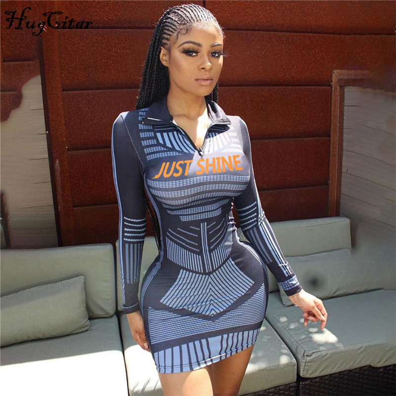 Hugcitar 2019 Long Sleeve Letters Print Zipper Patchwork Sexy Bodycon Mini Dress Autumn Winter Women Streetwear Club Outfits
