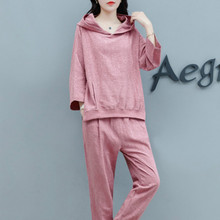 Cotton and hemp suit new pure color loose leisure sports for women in autumn 2019