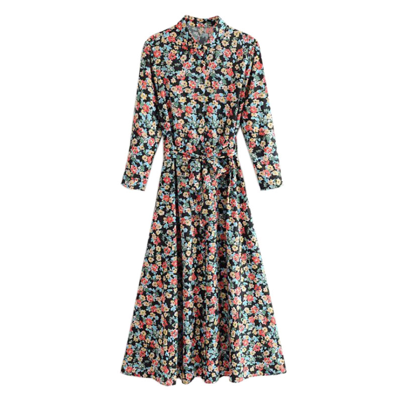 Women Vintage Three Quarter Sleeve Turn Down Collar Vestidos Flower Printing Casual Long Bow Tied Sashes Dresses FFZYQ460