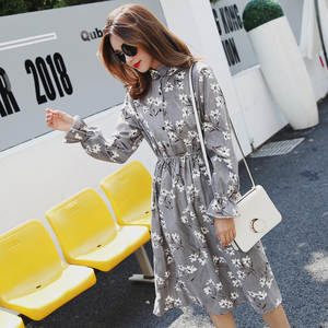 Female Dress Collar Long-Sleeve Waist-Print Party Floral Vintage High-Elastic Winter
