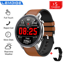 LEMDIOE Smart Watch Men Full Round Touch Screen ECG Heart Rate Blood Pressure Oxygen Weather Smartwatch VS L9 DT78(China)