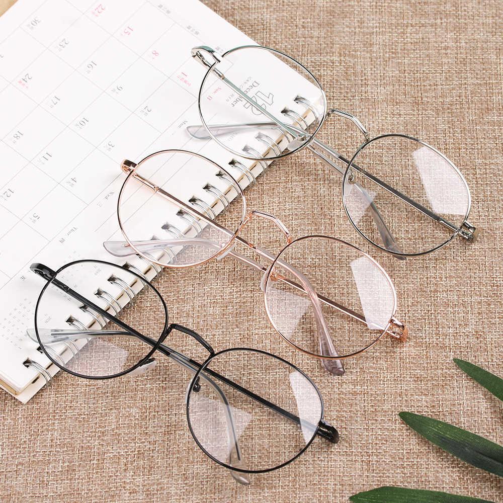 1PC Vintage Bulat Frame Kacamata Besar Logam Portabel Optik Kacamata Kacamata Wanita Pria Baru Fashion Aksesoris Kacamata