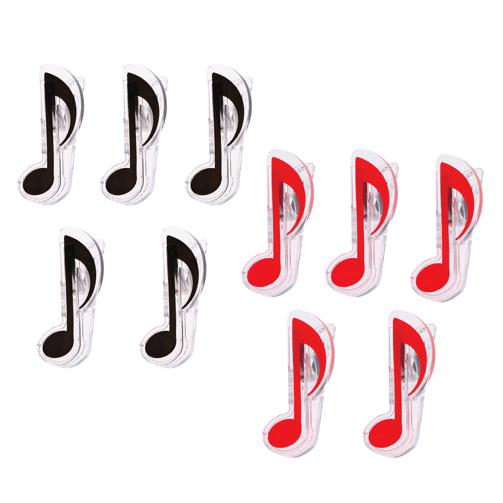 Practical 10Pcs/Pack Plastic Note Shape Page Clips Music Stand Accessory, Black Red