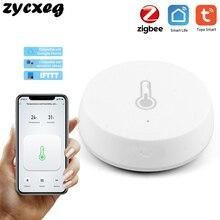 مستشعر درجة الحرارة والرطوبة الذكي اللاسلكي من زيجبي ، يعمل بالبطارية ، تطبيق Tuya Smart home عن بُعد