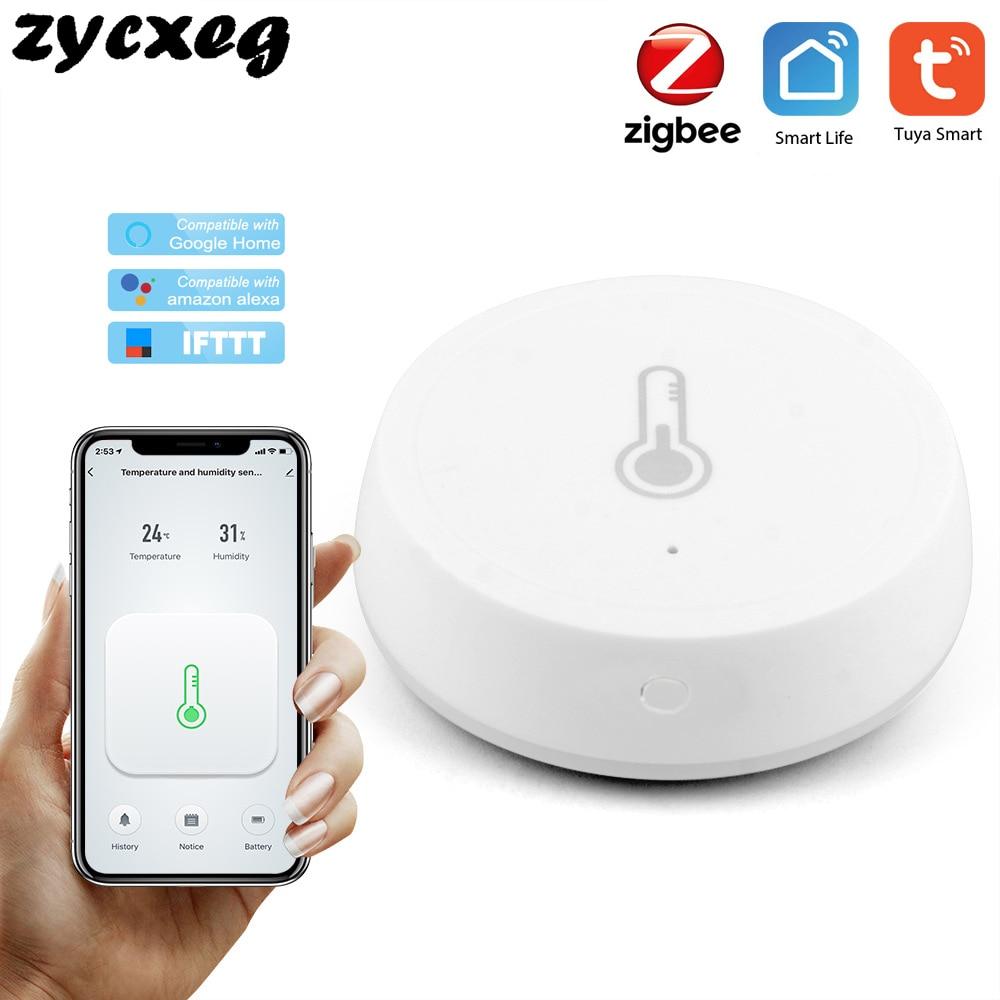 Zigbee Беспроводной умный датчик температуры и влажности, работающий от батареи, Tuya умный дом app remote