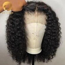 Бразильские короткие кудрявые человеческие волосы на кружеве, парики для черных женщин, парик с детскими волосами, предварительно выщипанные 13x4 130% плотность, низкое соотношение