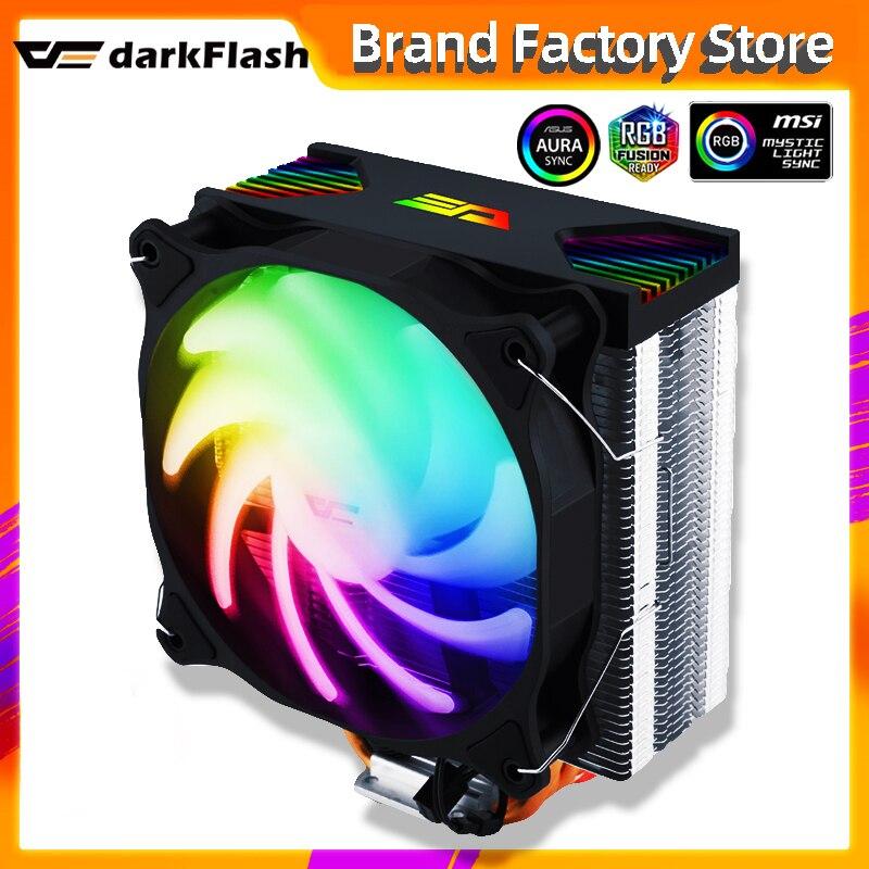 Darkflash cpu cooler aura sync argb acende 4 heatpipes 120mm silencioso pwm ventilador rgb dissipador de calor cpu radiador de refrigeração lga 1155/am4 amd