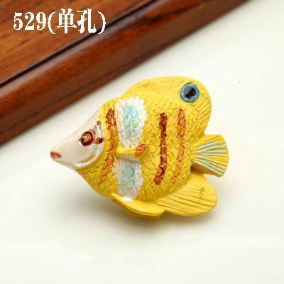 1 шт. морская серия полимерные ручки тянет ручка ящика шкафа и ручка для домашнего оборудования дверные ручки для мебели морская Морская звезда - Цвет: 529 yellow fish