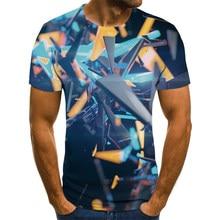 2020 novo verão 3D impresso camiseta masculina de manga curta masculina moda ocasional