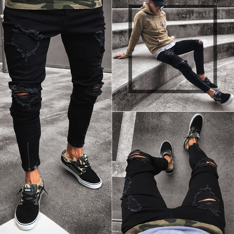 Fashion Men's Hole Black Jeans Ripped Skinny Jeans Destroyed Frayed Slim Fit Denim Zipper