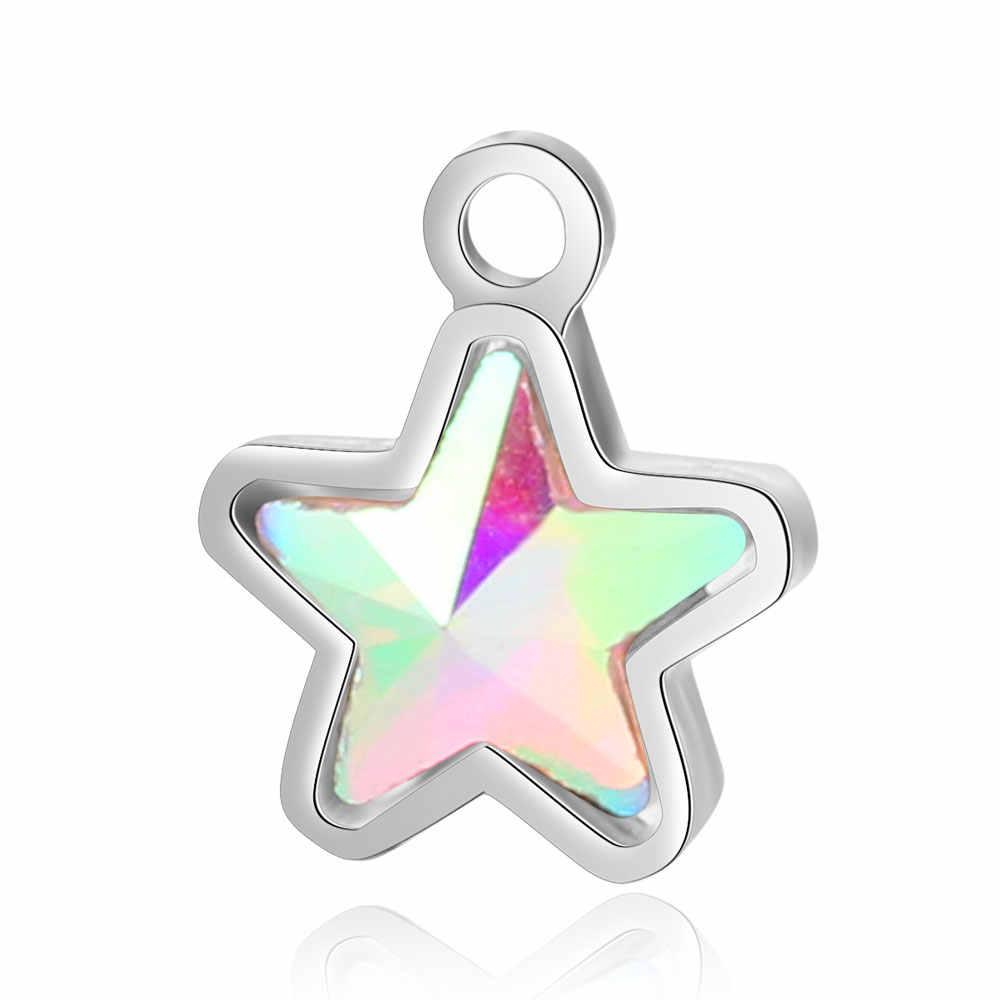 5 adet/grup 100% paslanmaz çelik taklidi takılar Dia mond şekilli yıldız kafatası kristal taş DIY takı takılar toptan