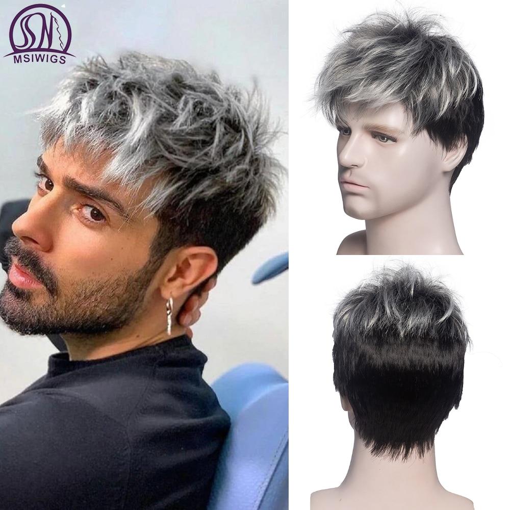Msiwigs homens peruca curta reta ombre cinza marrom peruca sintética branco para o cabelo masculino fleeciness realista natural chapelaria