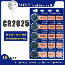 15 Pçs/lote SONY Originais CR2025 3V Baterias De Lítio Botão Célula de Bateria CR 2025 para o Relógio de Brinquedo Remoto Controle de Computador Calculadora
