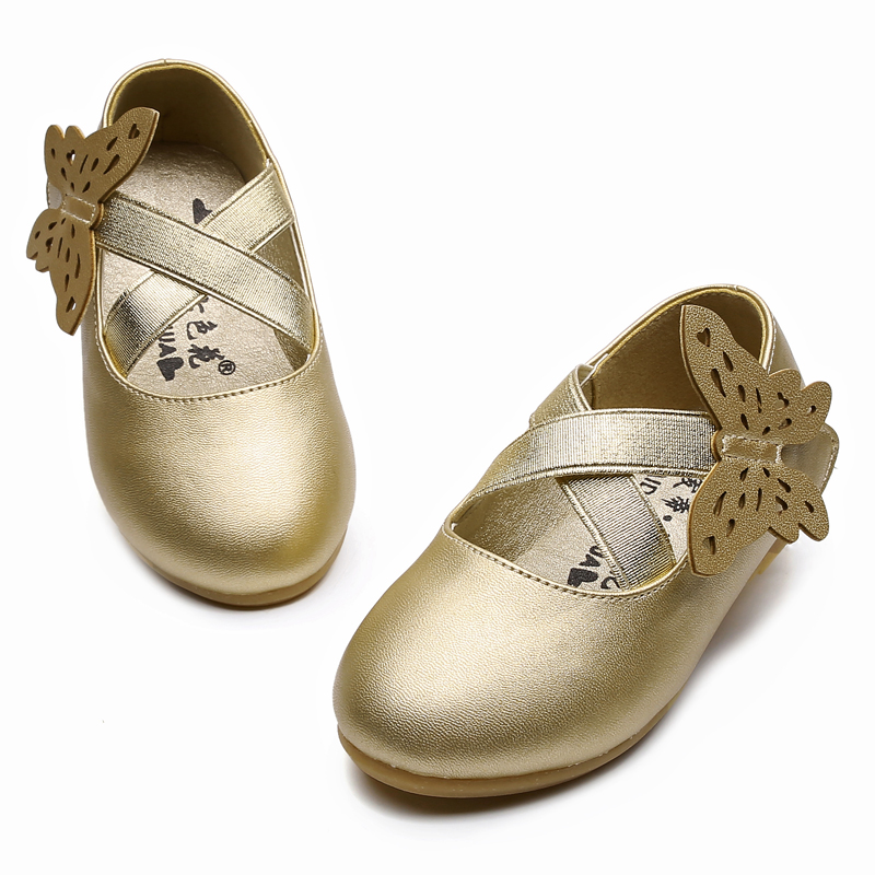 Lovely Butterfly Kids Princess Shoes For Girl Soft Children's Dancing Performance Shoes Flat Silver White Gold SO001