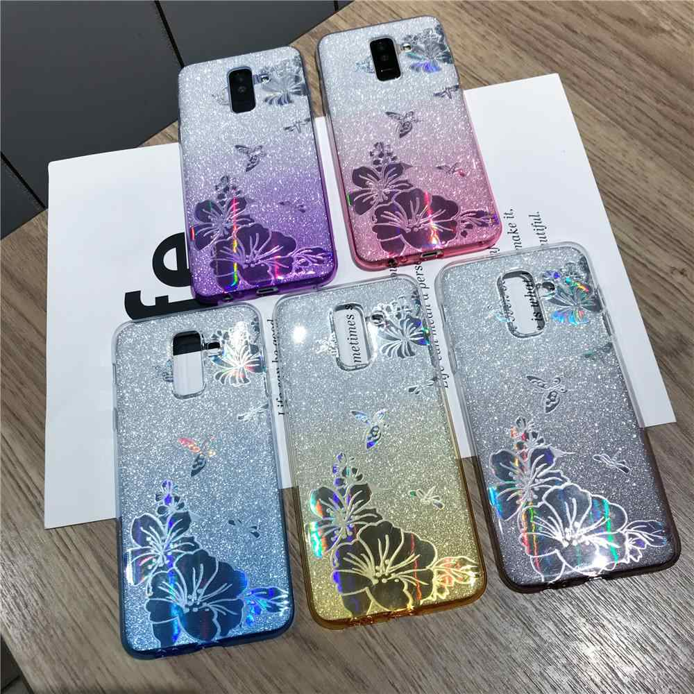 Gradiënt Buterfly Bloem Glitter TPU Case Voor Samsung Galaxy S9 S8 Plus S10 S10E Note 10 A5 A7 J5 J7 2017 Cover Soft Telefoon Gevallen