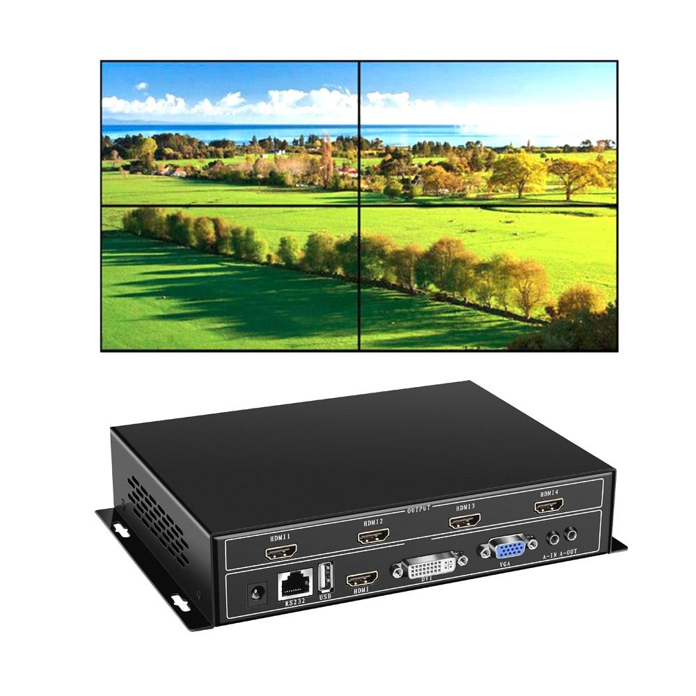 YiiSPO 4 Channel TV Video Wall Controller 2x2 1x3 1x2 HDMI DVI VGA USB Video Processor RS232 Control For 4 TV Splicing
