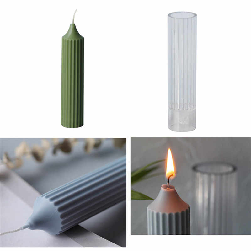 Molde de vela de poste de pl/ástico cilindro de pilar costilla vela molde para hacer jab/ón molde de vela DIY para suministros de kit de artesan/ía de arcilla hecha a mano