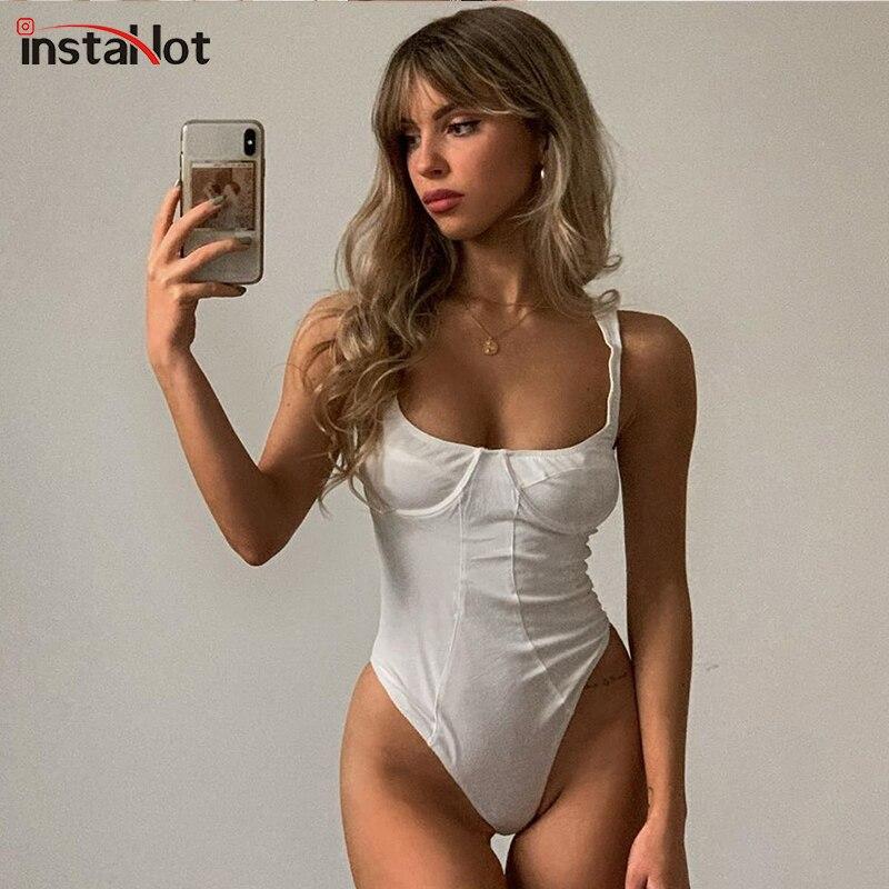 InstaHot Sexy Spaghetti Strap Bodysuit Sexy Slim Party Club Sleeveless Summer Women Romper Skinny Solid Lady Casual Bodysuit