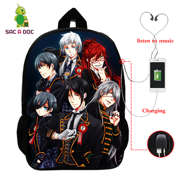 Anime Backpack USB Charge School Bags for Teenagers Boys Girls Black Butler Print Cosplay Backpack Laptop Backpack Travel Bags anime black butler cosplay backpack anime two elementary elementary junior high school student bag girls shoulder bag backpacker