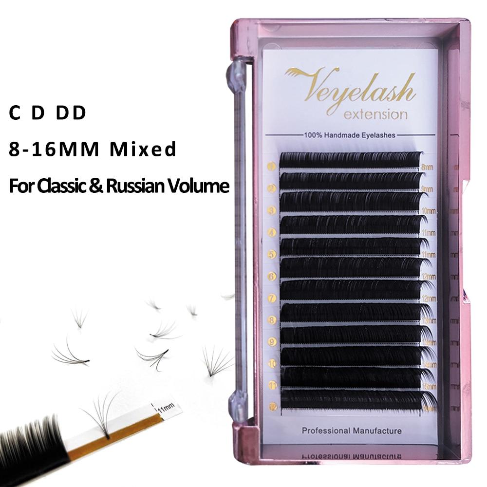 Viplash All Size Eyelash Extension 12 Rows Faux Mink Eyelashes Hiah Quantity Individual Eyelash Extensions 8--16mm Mix Eyelashes