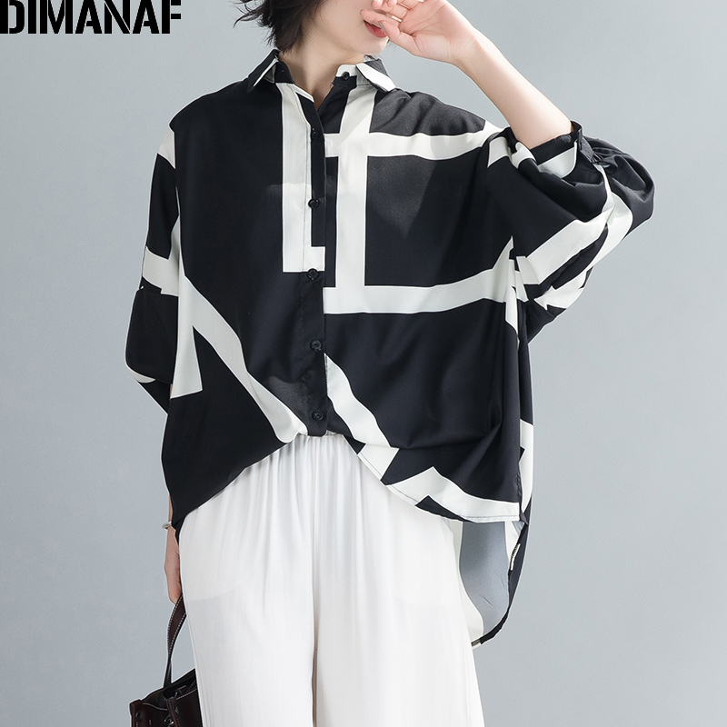 DIMANAF Summer Oversize Women Blouse Shirts Office Lady Tops Tunic Casual Loose Striped Batwing Sleeve Clothing Button Cardigan