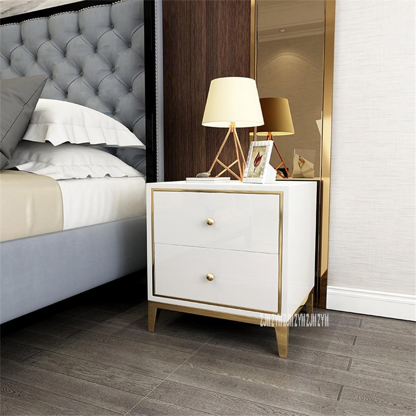 K02 Post Modern Bedside Cupboard Bedroom Nightstand Wood Night Table Gold-Plating Frame Bedside Locker With Solid Wood Drawer