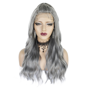 Women's lace big wave long curly hair European and American Silver corn perm the whole grandma's grey hair