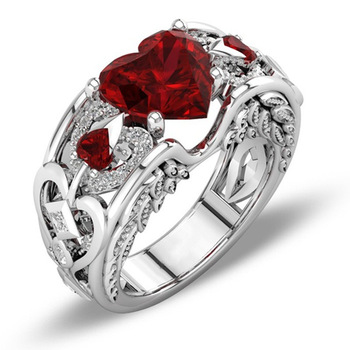 Women Ring Silver Plated Red Love Cubic Zirconia Ring Banquet Couple Wedding Ring Fashion Jewellery Birthday Gift for Girlfriend 1