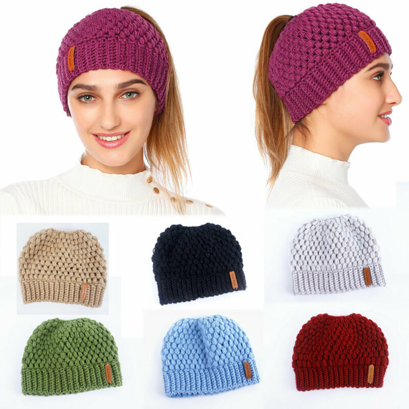 Women Beanie Hat Ponytail Winter Warm Ski Cap Knitted Beanie Tail Fashion Casual Lady Girls Sport Elastic Soft Sport Hollow Cap