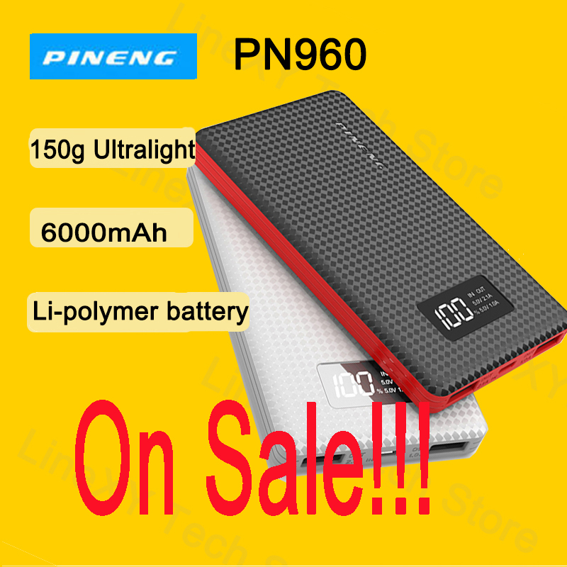 On Sale!!! PINENG External Battery Power Bank PN960 6000mAh Dual USB External Mobile Battery Charger Li-Polymer Battery LED image