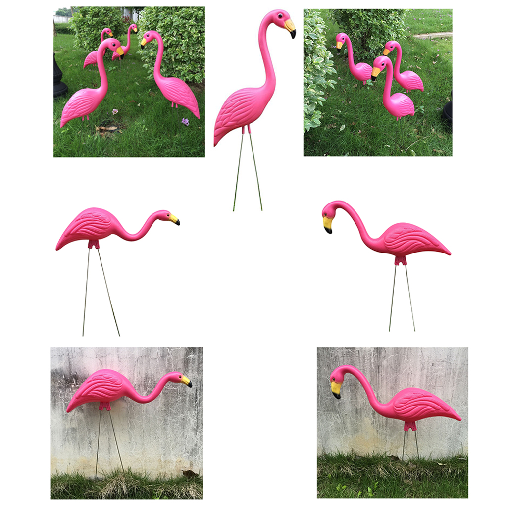3 Types Pink Plastic Flamingo Yard Garden Lawn Balcony Decor Lifelike Animal Ornaments