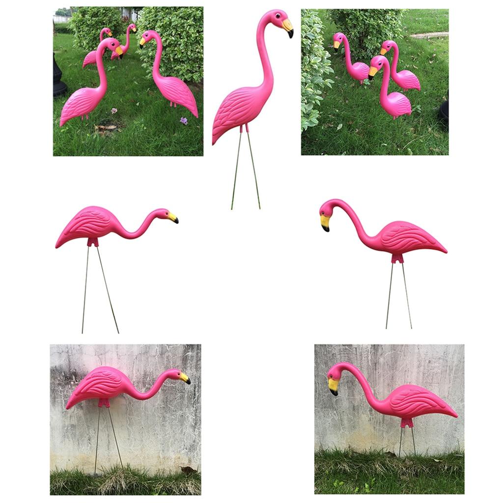 3 Types Pink Plastic Flamingo Yard Garden Lawn Balcony Decor Lifelike Animal Ornaments