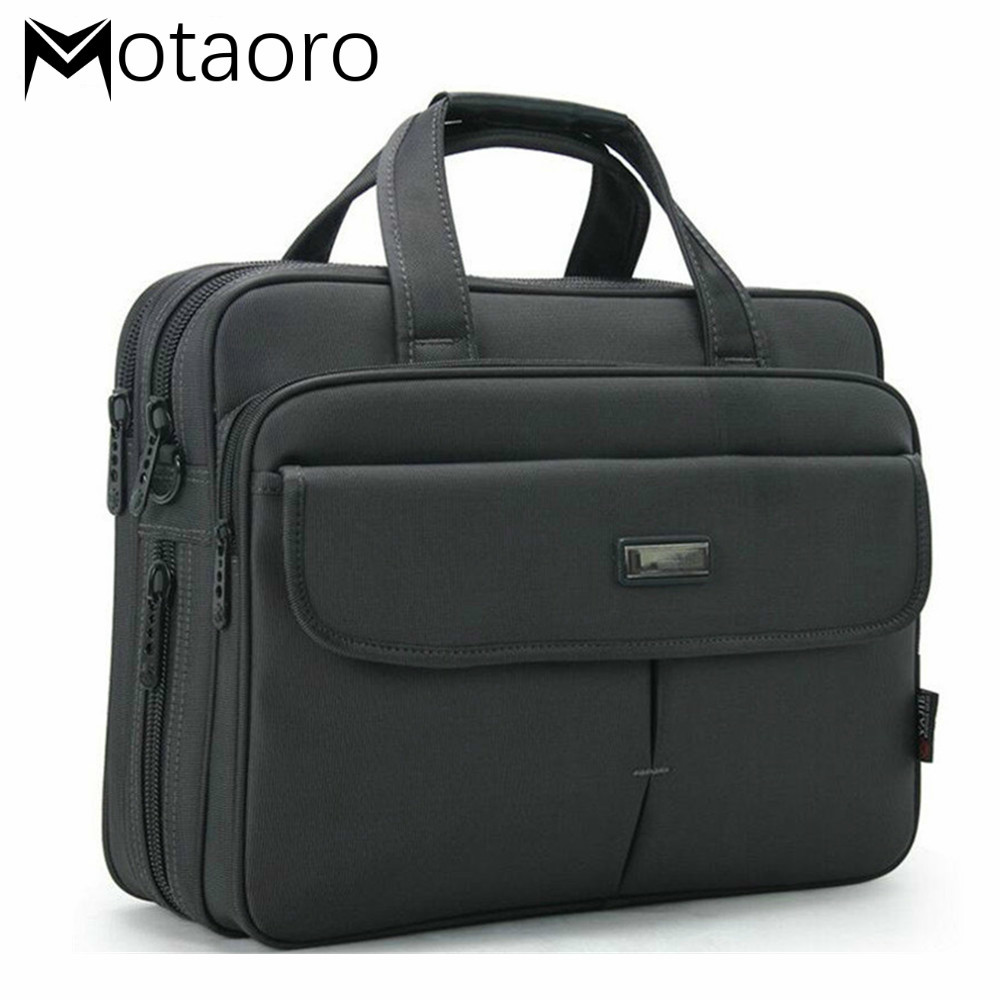 Dark Gray Men Briefcases Classic Women Business Laptop Handbags Large Capacity 15.6